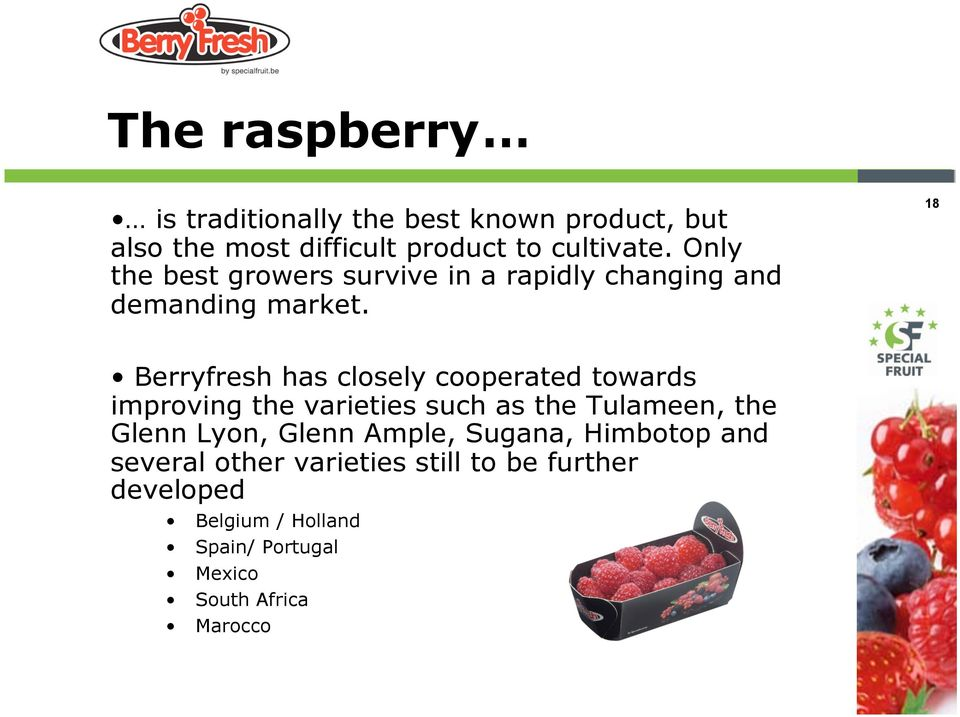 18 Berryfresh has closely cooperated towards improving the varieties such as the Tulameen, the Glenn Lyon,