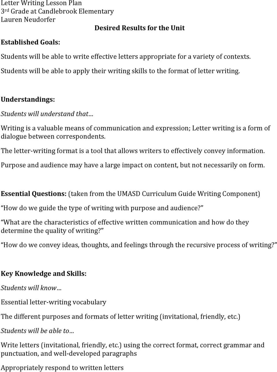 Understandings: Students will understand that Writing is a valuable means of communication and expression; Letter writing is a form of dialogue between correspondents.