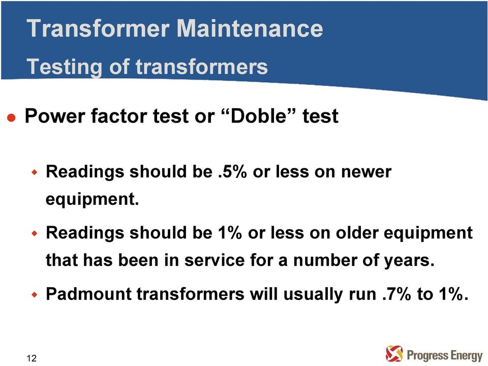 Readings should be 1% or less on older equipment that has been in