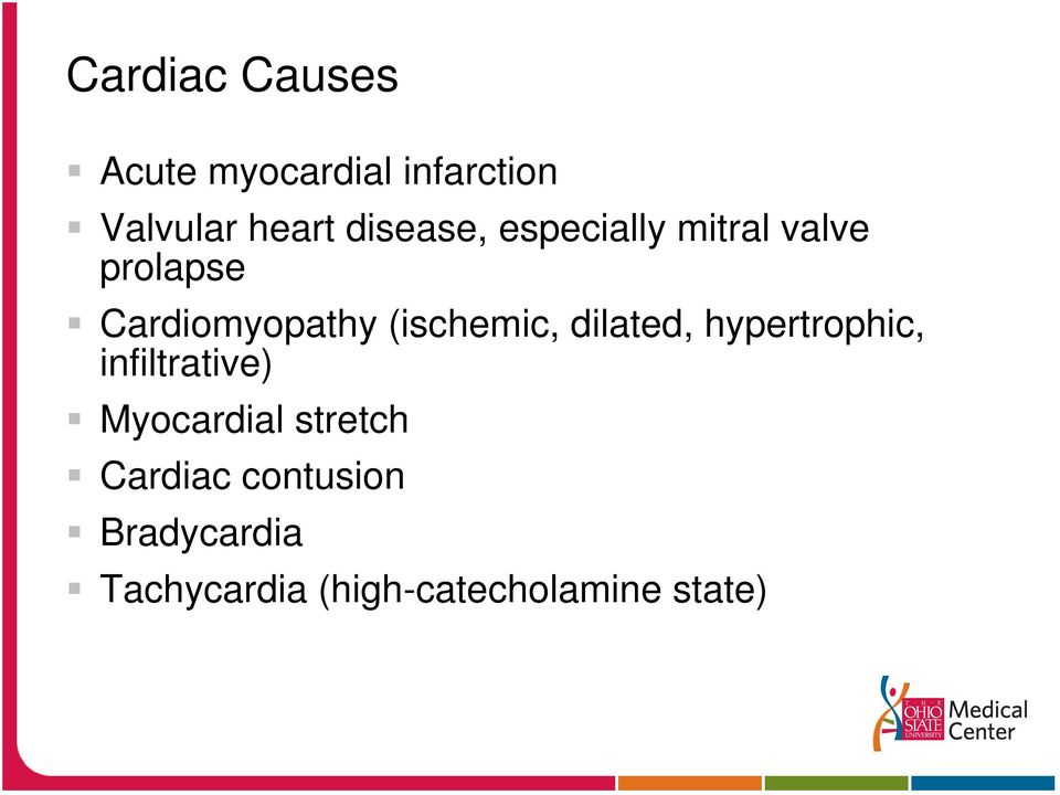 (ischemic, dilated, hypertrophic, infiltrative) Myocardial