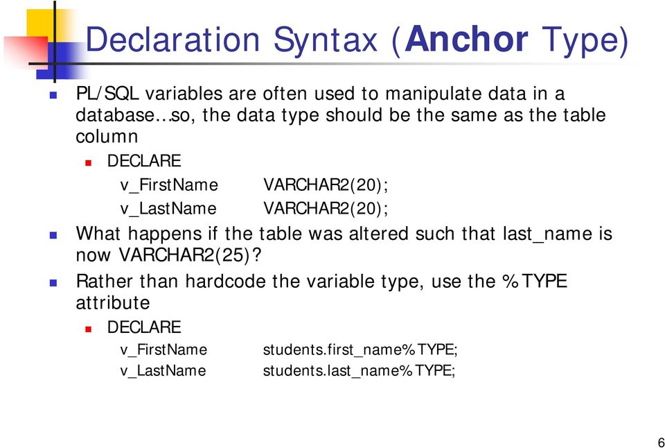 What happens if the table was altered such that last_name is now VARCHAR2(25)?