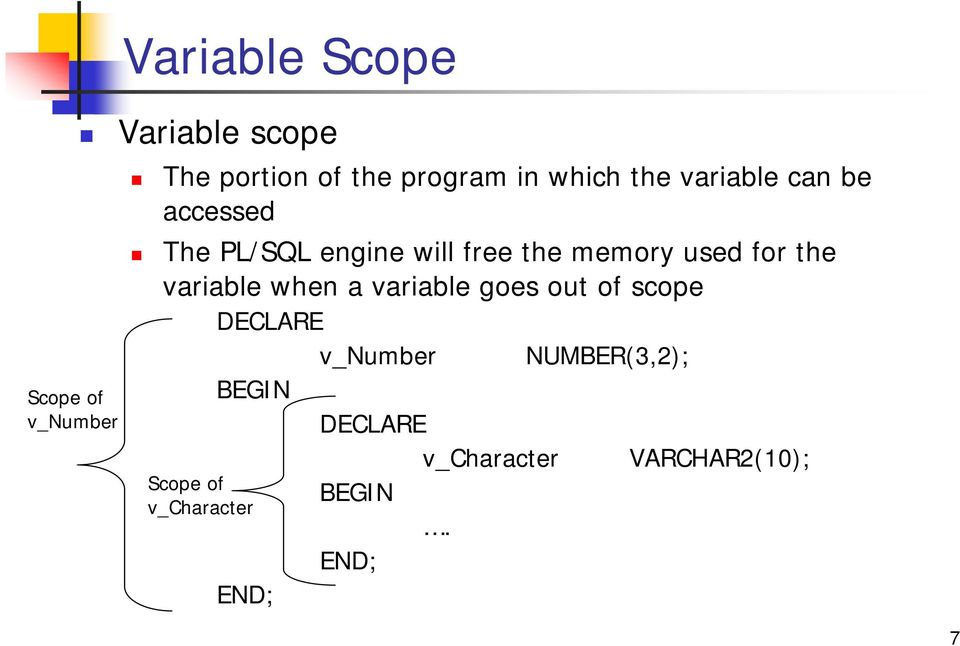for the variable when a variable goes out of scope DECLARE v_number