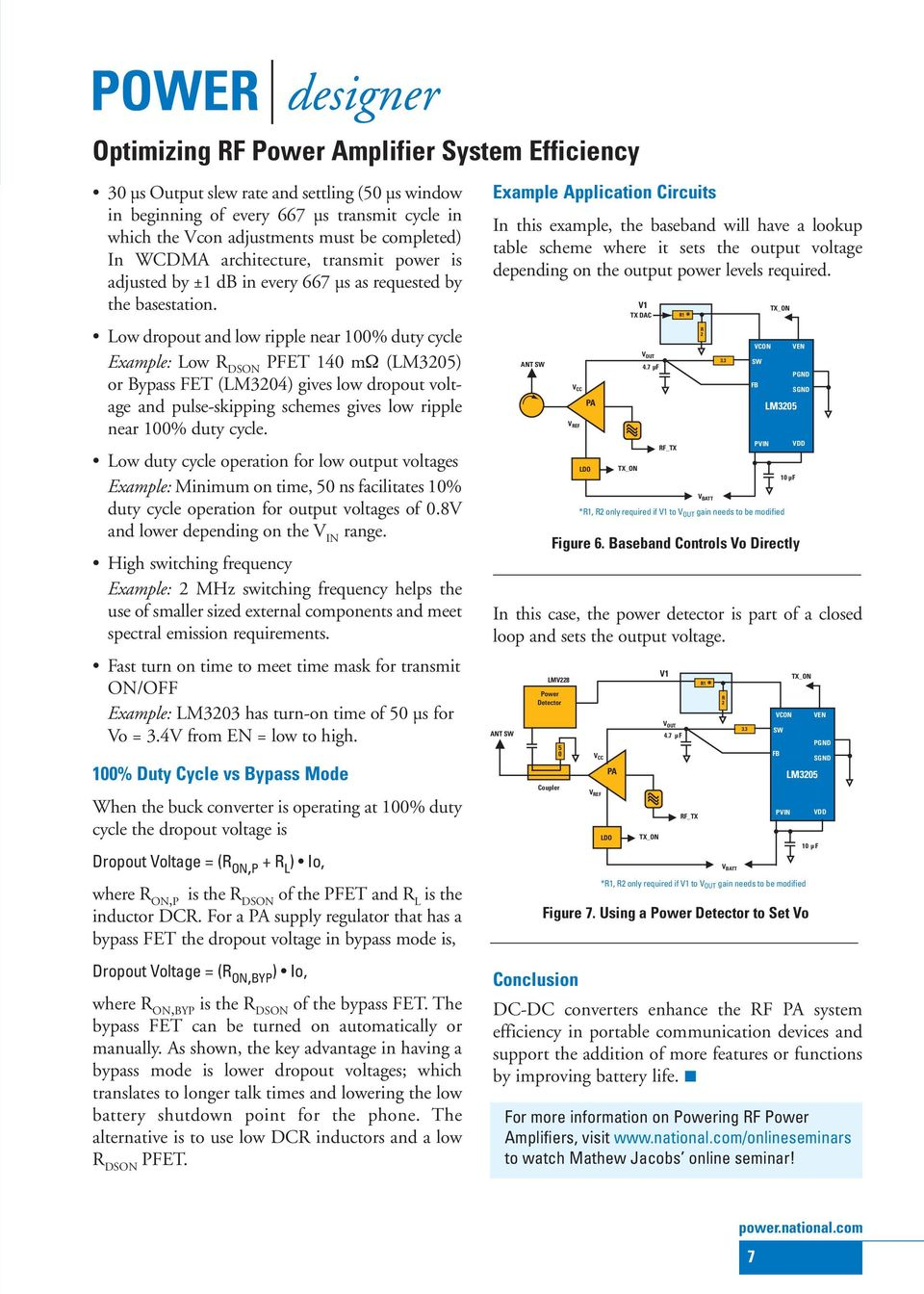 Lm3203lm3204lm3205 Optimizing Rf Power Amplifier System Efficiency National Lm386 Audio Datasheet For Battery Operation Low Dropout And Ripple Near 100 Duty Cycle Example R Dson Pfet