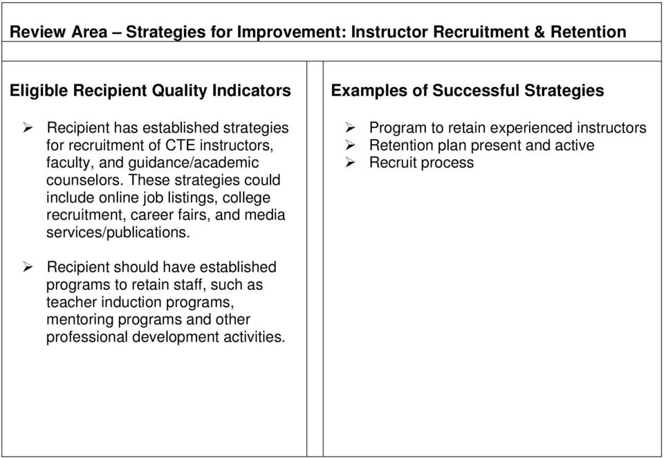 These strategies could include online job listings, college recruitment, career fairs, and media services/publications.