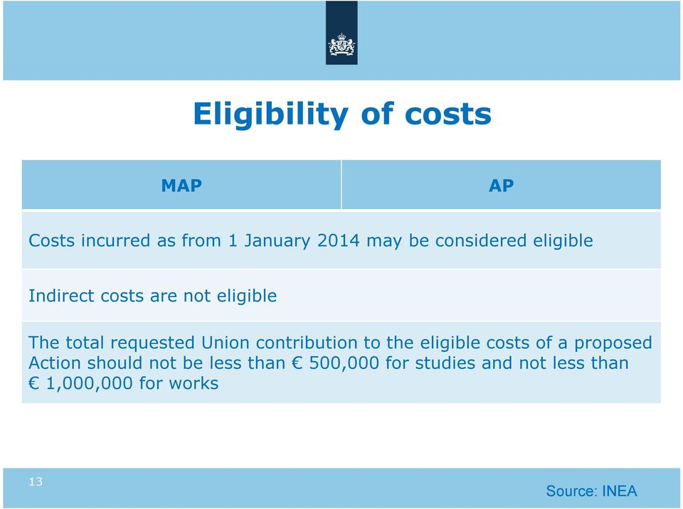 Union contribution to the eligible costs of a proposed Action should not