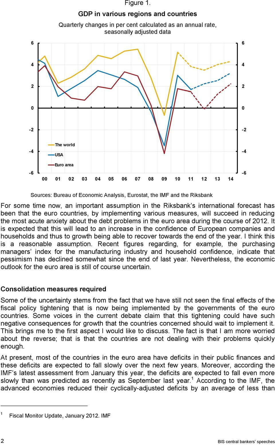 Analysis, Eurostat, the IMF and the Riksbank For some time now, an important assumption in the Riksbank s international forecast has been that the euro countries, by implementing various measures,
