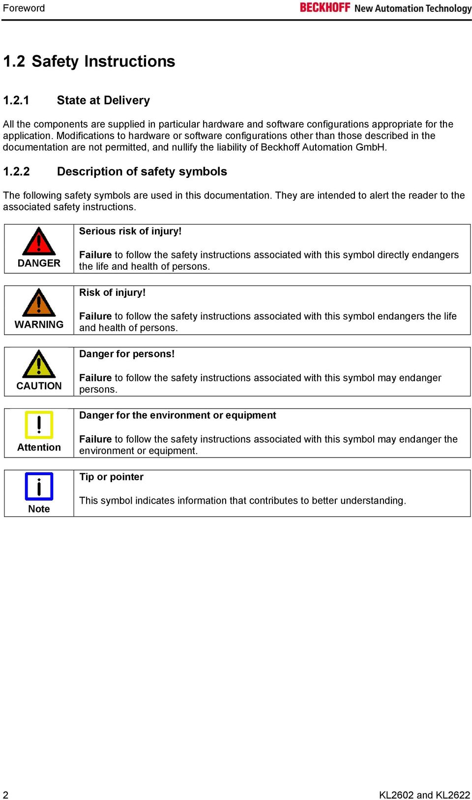 2 Description of safety symbols The following safety symbols are used in this documentation. They are intended to alert the reader to the associated safety instructions. Serious risk of injury!