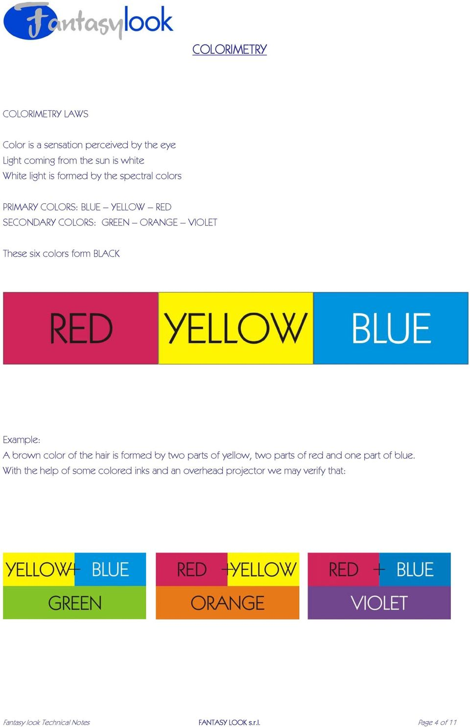 BLACK Example: A brown color of the hair is formed by two parts of yellow, two parts of red and one part of blue.