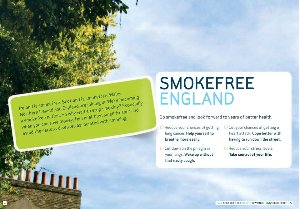 SMOKEFREE ENGLAND Go smokefree and look forward to years of better health. Reduce your chances of getting lung cancer. Help yourself to breathe more easily.
