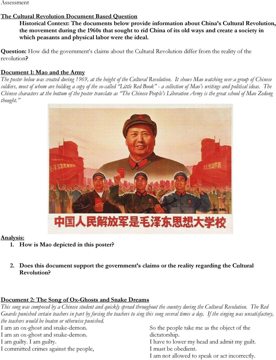 Question: How did the government s claims about the Cultural Revolution differ from the reality of the revolution?