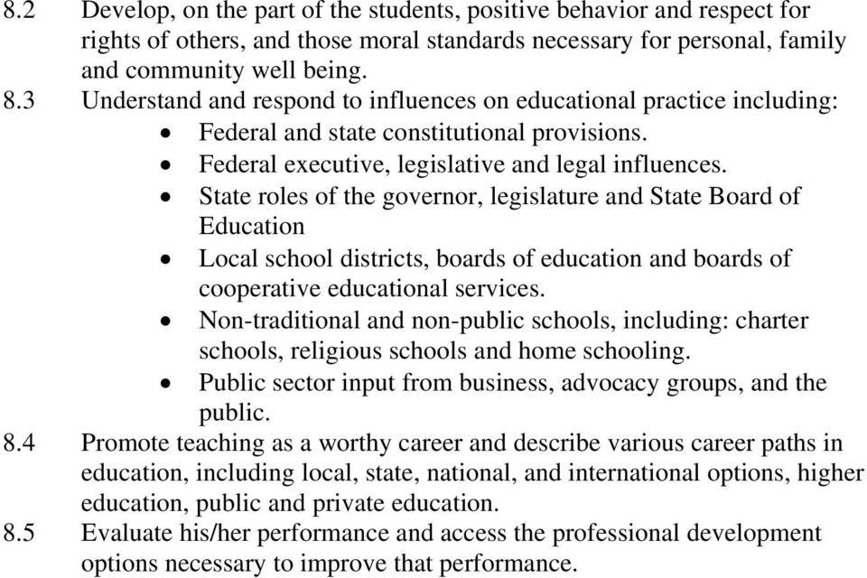 State roles of the governor, legislature and State Board of Education Local school districts, boards of education and boards of cooperative educational services.
