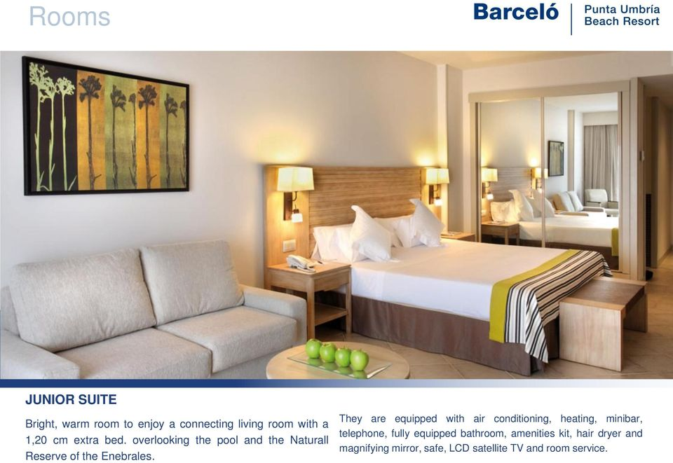 They are equipped with air conditioning, heating, minibar, telephone, fully equipped
