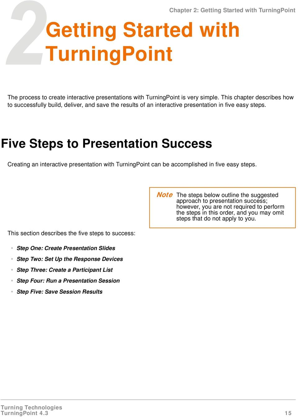 Five Steps to Presentation Success Creating an interactive presentation with TurningPoint can be accomplished in five easy steps.