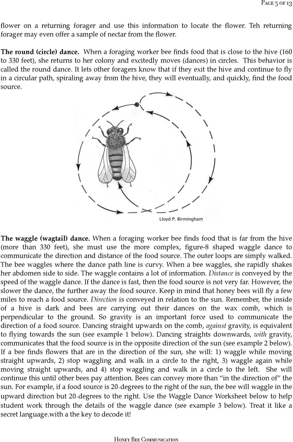 It lets other foragers know that if they exit the hive and continue to fly in a circular path, spiraling away from the hive, they will eventually, and quickly, find the food source.