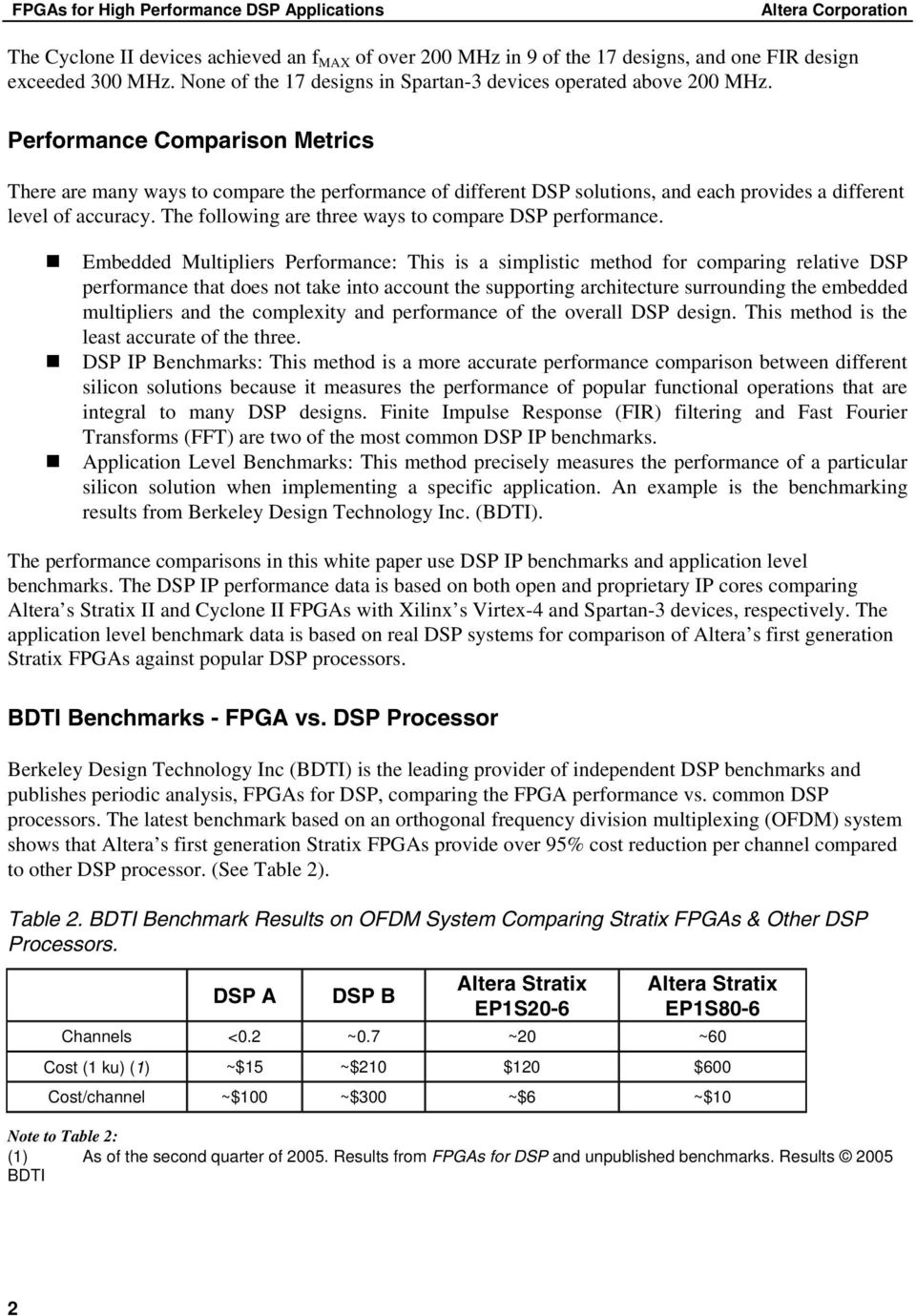 Performance Comparison Metrics There are many ways to compare the performance of different DSP solutions, and each provides a different level of accuracy.