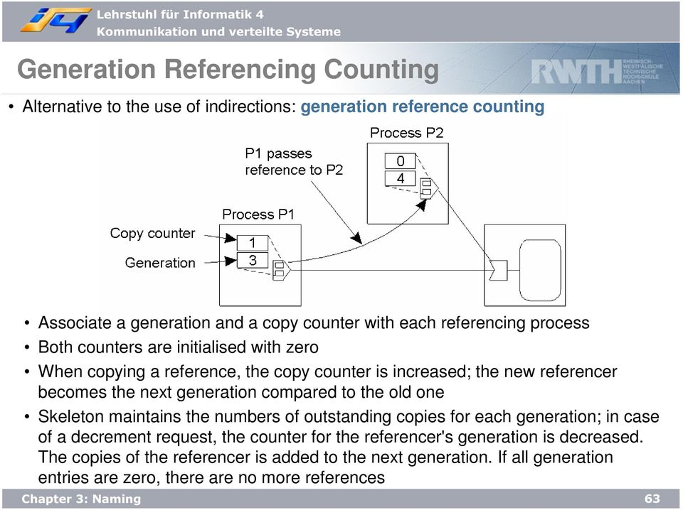 generation compared to the old one Skeleton maintains the numbers of outstanding copies for each generation; in case of a decrement request, the counter for