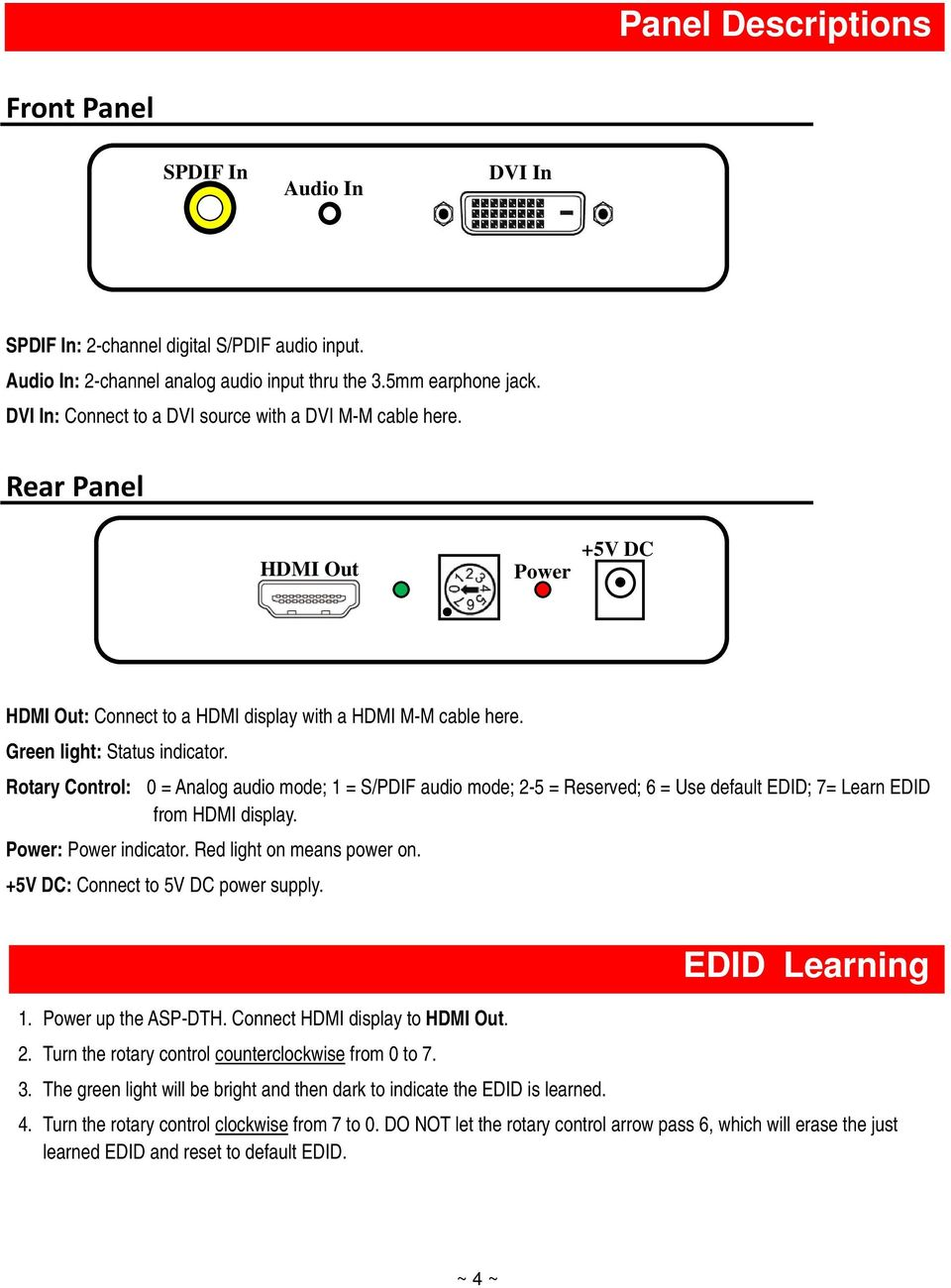 Rotary Control: 0 = Analog audio mode; 1 = S/PDIF audio mode; 2-5 = Reserved; 6 = Use default EDID; 7= Learn EDID from HDMI display. Power: Power indicator. Red light on means power on.