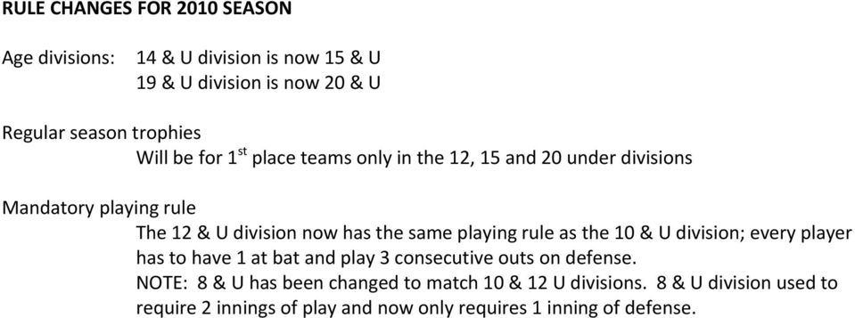 same playing rule as the 10 & U division; every player has to have 1 at bat and play 3 consecutive outs on defense.