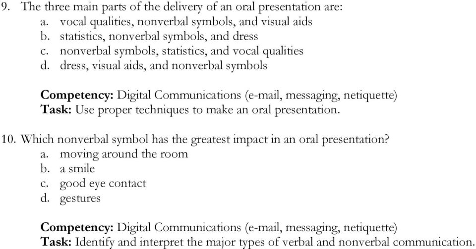 dress, visual aids, and nonverbal symbols Competency: Digital Communications (e-mail, messaging, netiquette) Task: Use proper techniques to make an oral presentation. 10.