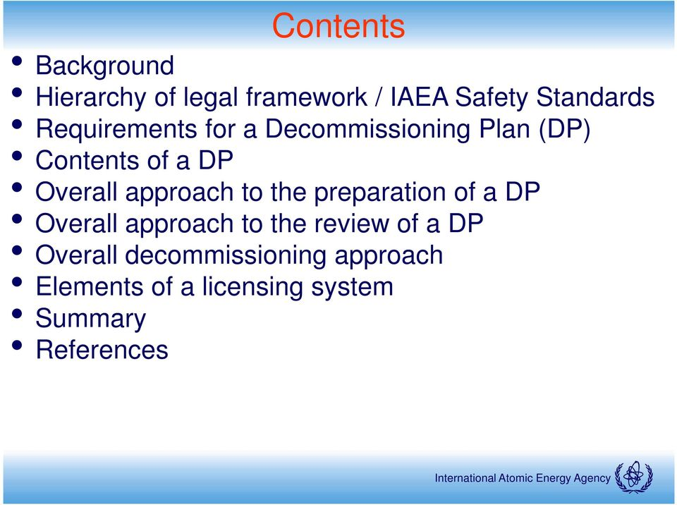 approach to the preparation of a DP Overall approach to the review of a DP