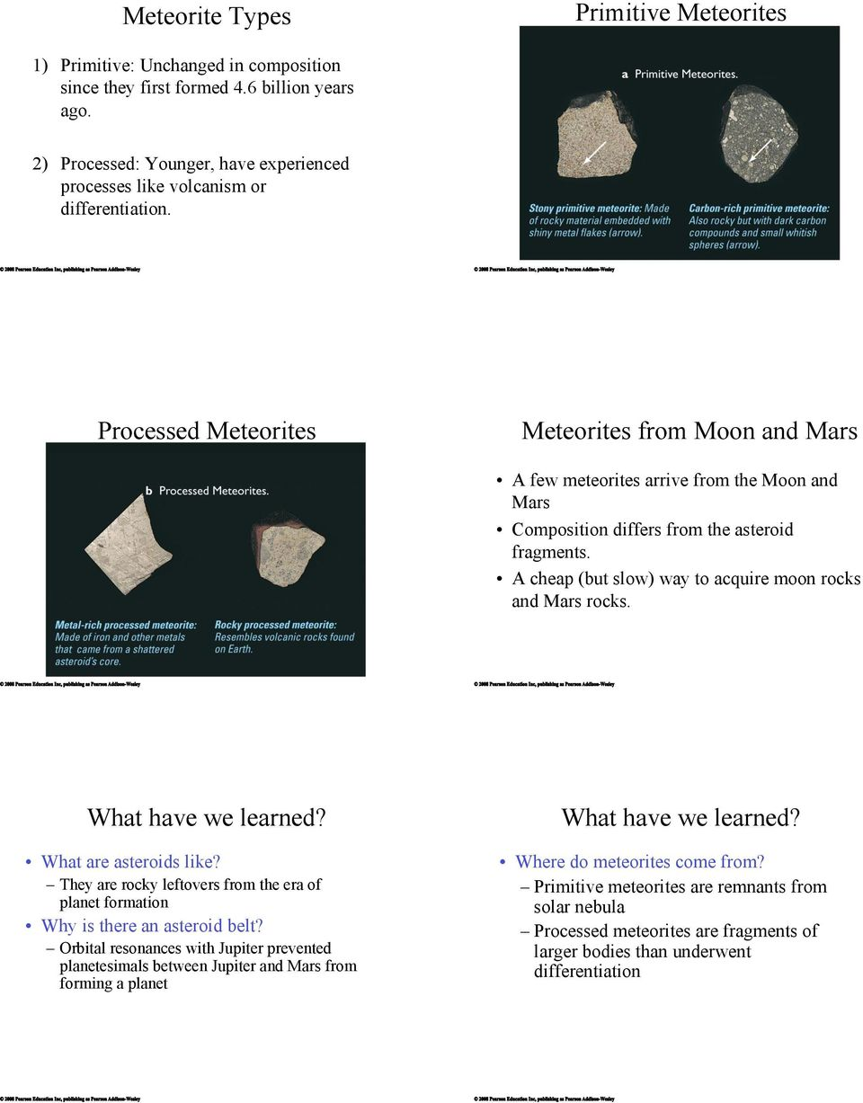 Composition differs from the asteroid fragments.! A cheap (but slow) way to acquire moon rocks and Mars rocks. What have we learned?! What are asteroids like?