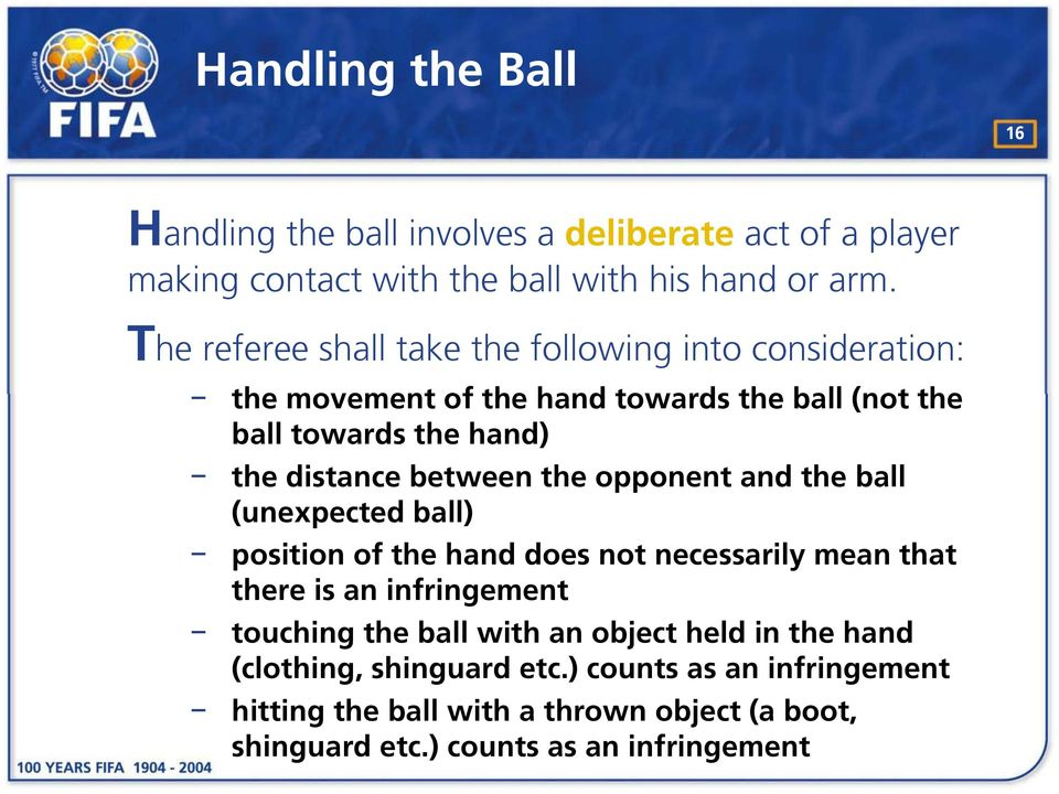 between the opponent and the ball (unexpected ball) position of the hand does not necessarily mean that there is an infringement touching the ball