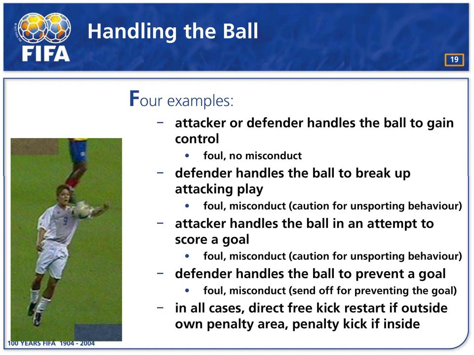 to score a goal foul, misconduct (caution for unsporting behaviour) defender handles the ball to prevent a goal foul,