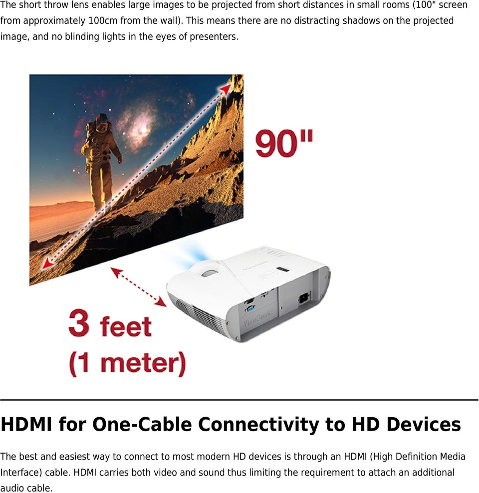 HDMI for One-Cable Connectivity to HD Devices The best and easiest way to connect to most modern HD devices is through an HDMI (High