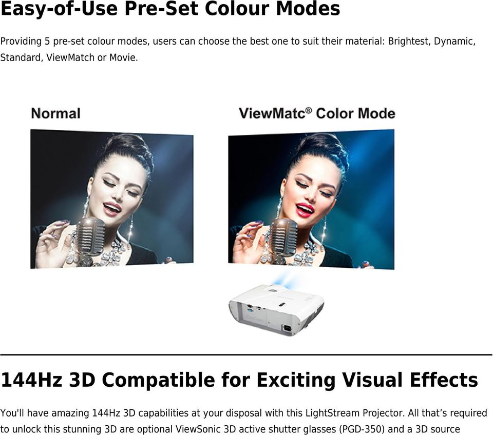 44Hz 3D Compatible for Exciting Visual Effects You'll have amazing 44Hz 3D capabilities at your disposal