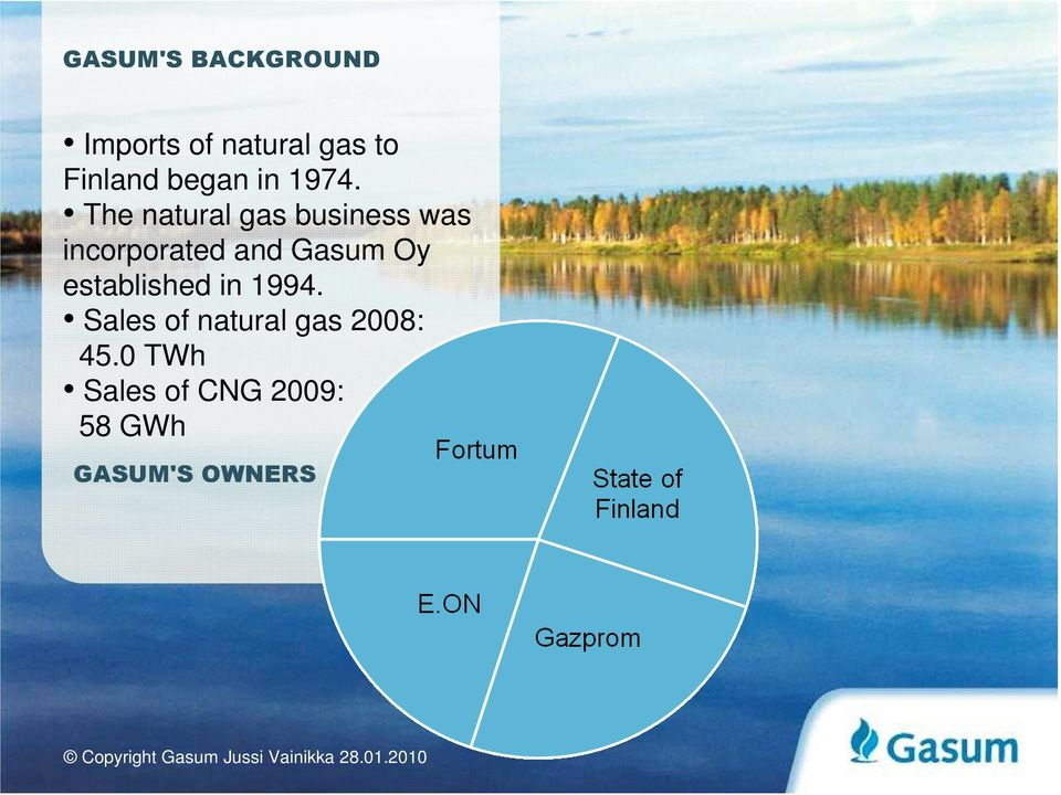 The natural gas business was incorporated and Gasum Oy