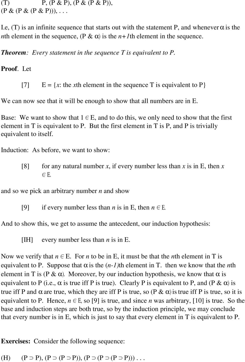 heorem: Every statement in the sequence is equivalent to P. Proof.