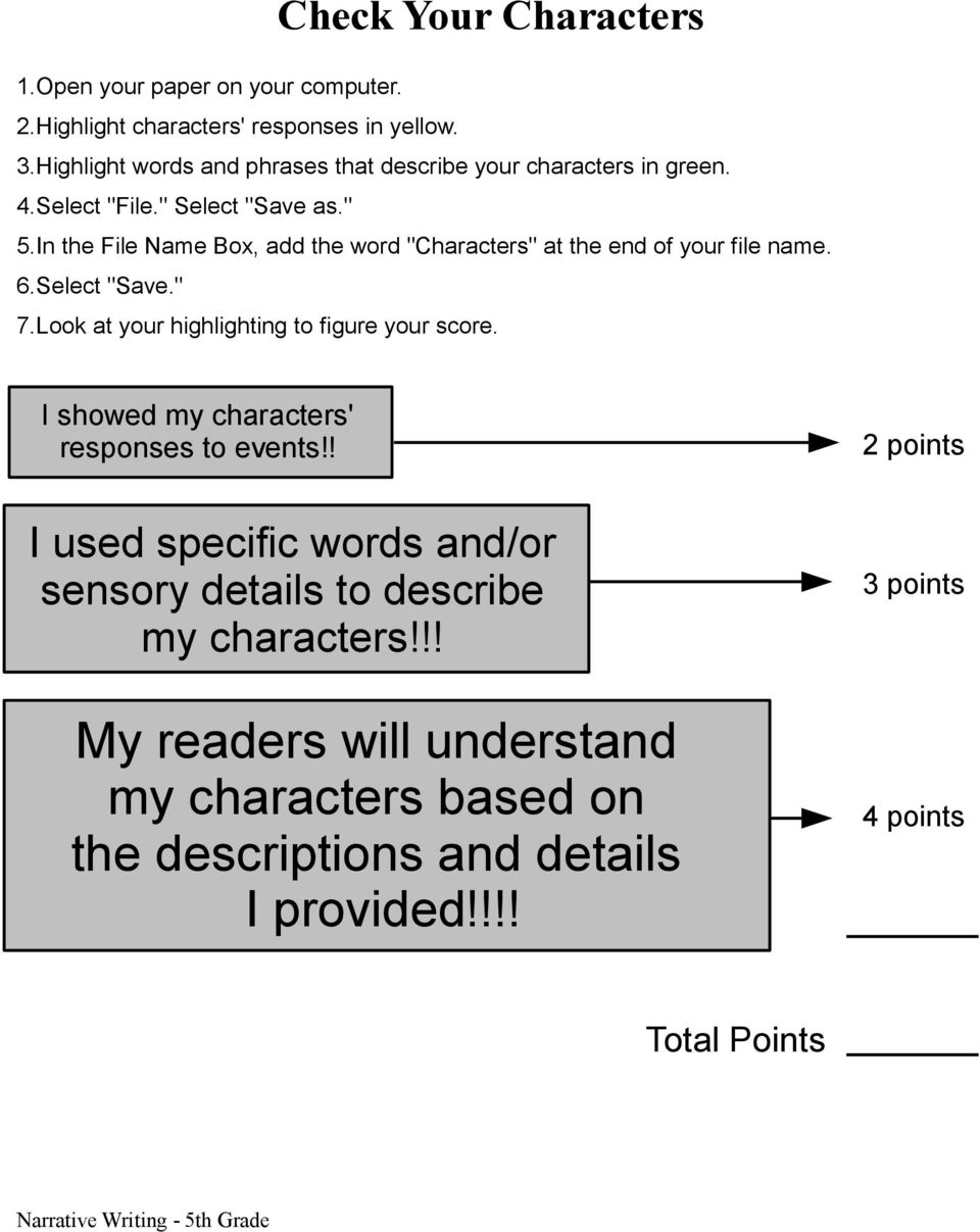 Look at your highlighting to figure your score. I showed my characters' responses to events!