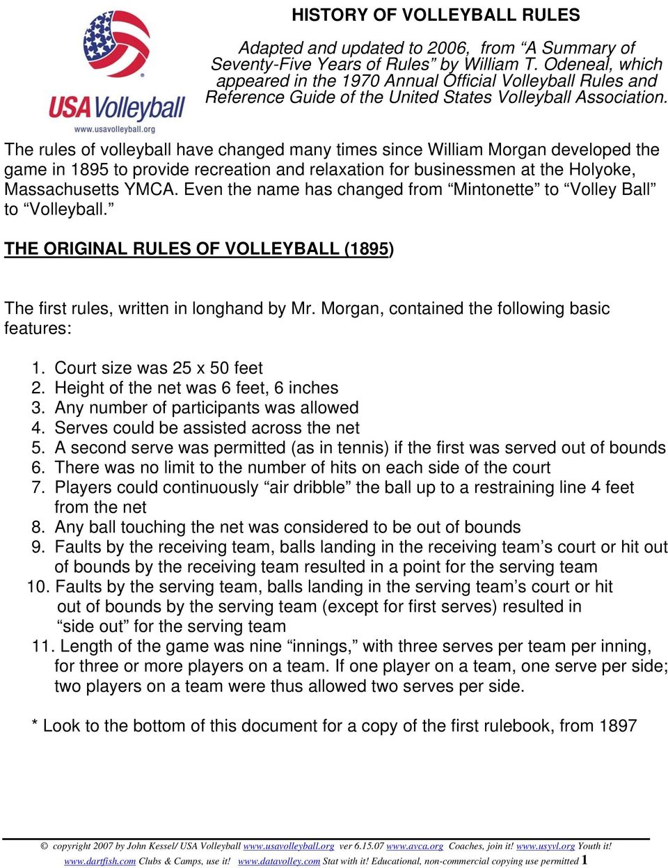 The rules of volleyball have changed many times since William Morgan developed the game in 1895 to provide recreation and relaxation for businessmen at the Holyoke, Massachusetts YMCA.