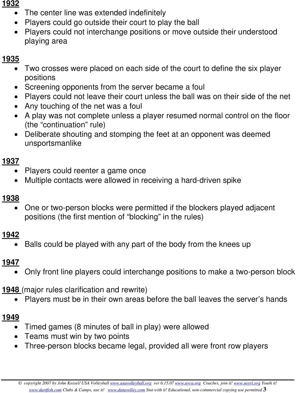 side of the net Any touching of the net was a foul A play was not complete unless a player resumed normal control on the floor (the continuation rule) Deliberate shouting and stomping the feet at an
