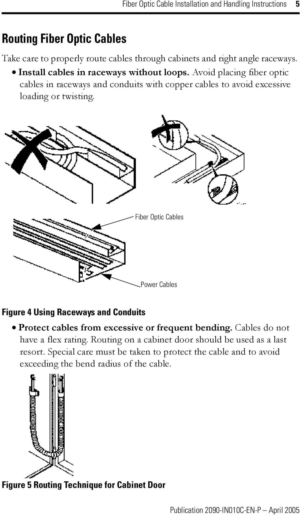 Fiber Optic Cable Installation And Handling Instructions Pdf Wire Diagram Cables Power Figure 4 Using Raceways Conduits Protect From Excessive Or