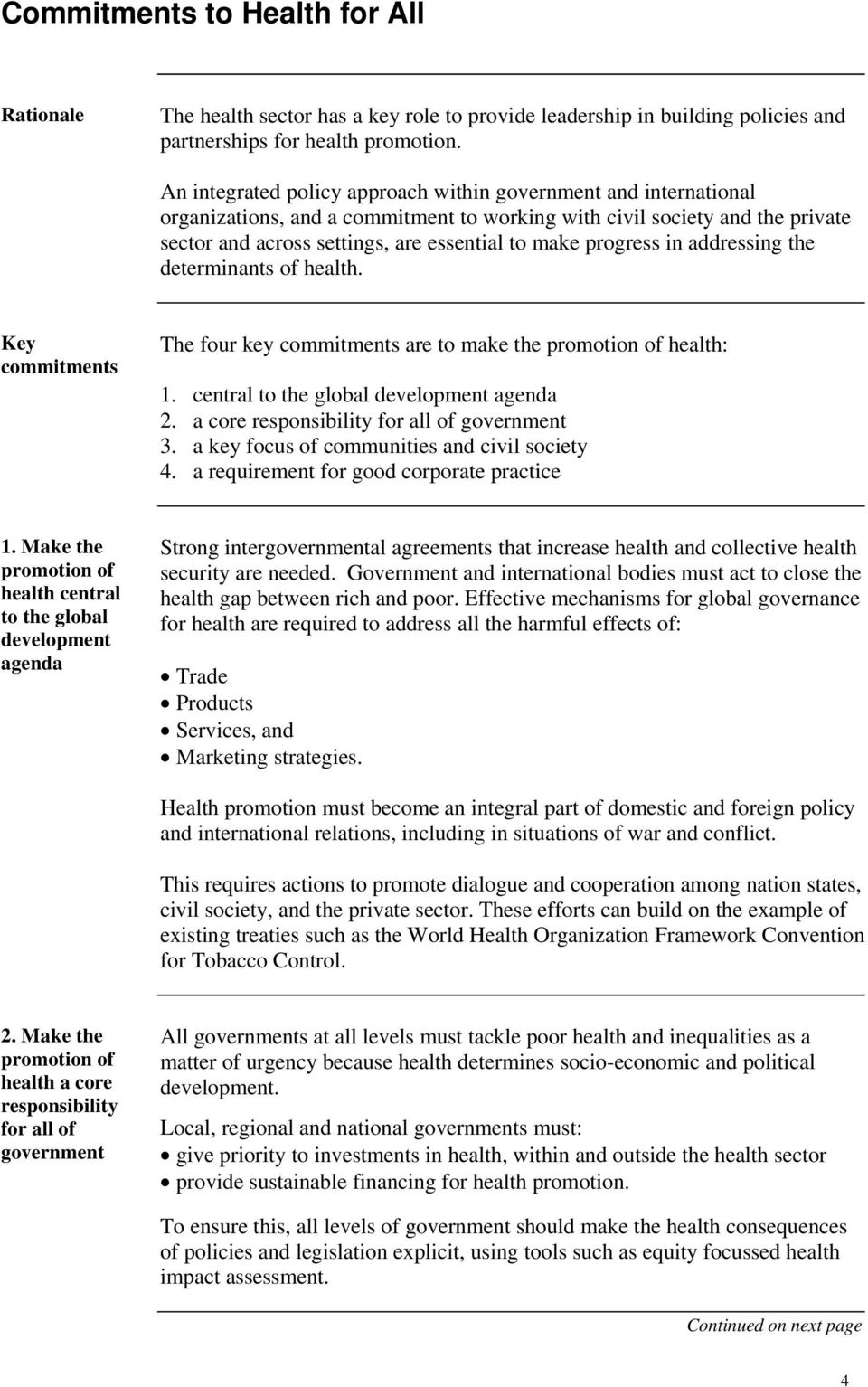 progress in addressing the determinants of health. Key commitments The four key commitments are to make the health: 1. central to the global development agenda 2.