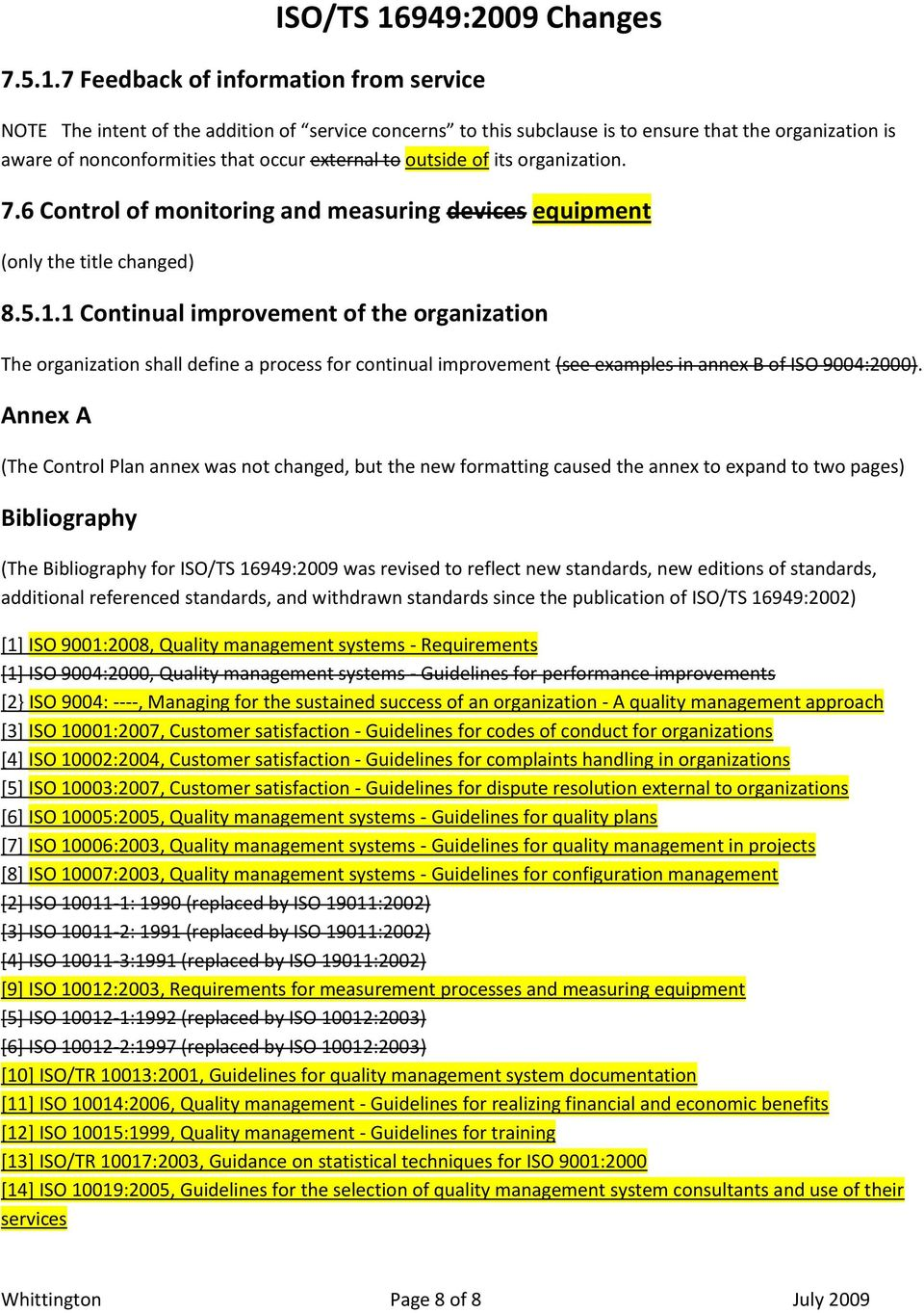 outside of its organization. 7.6 Control of monitoring and measuring devices equipment (only the title changed) 8.5.1.