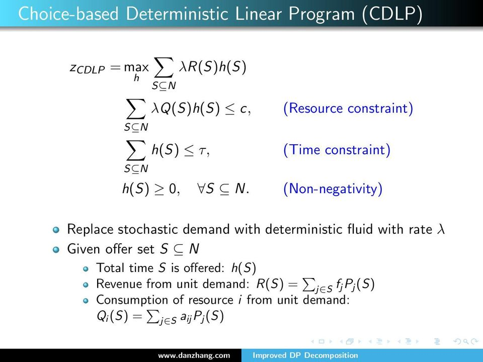 (Non-negativity) Replace stochastic demand with deterministic fluid with rate λ Given offer set S N