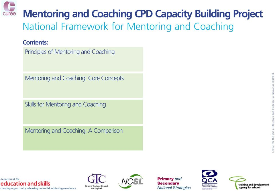 Mentoring and Coaching Mentoring and Coaching: Core Concepts