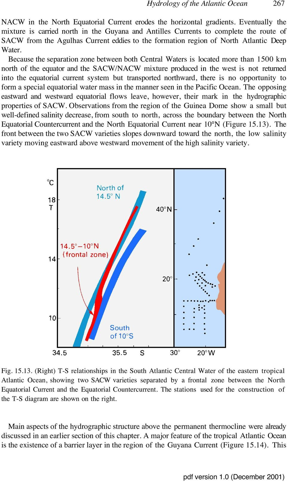 Because the separation zone between both Central Waters is located more than 1500 km north of the equator and the SACW/NACW mixture produced in the west is not returned into the equatorial current