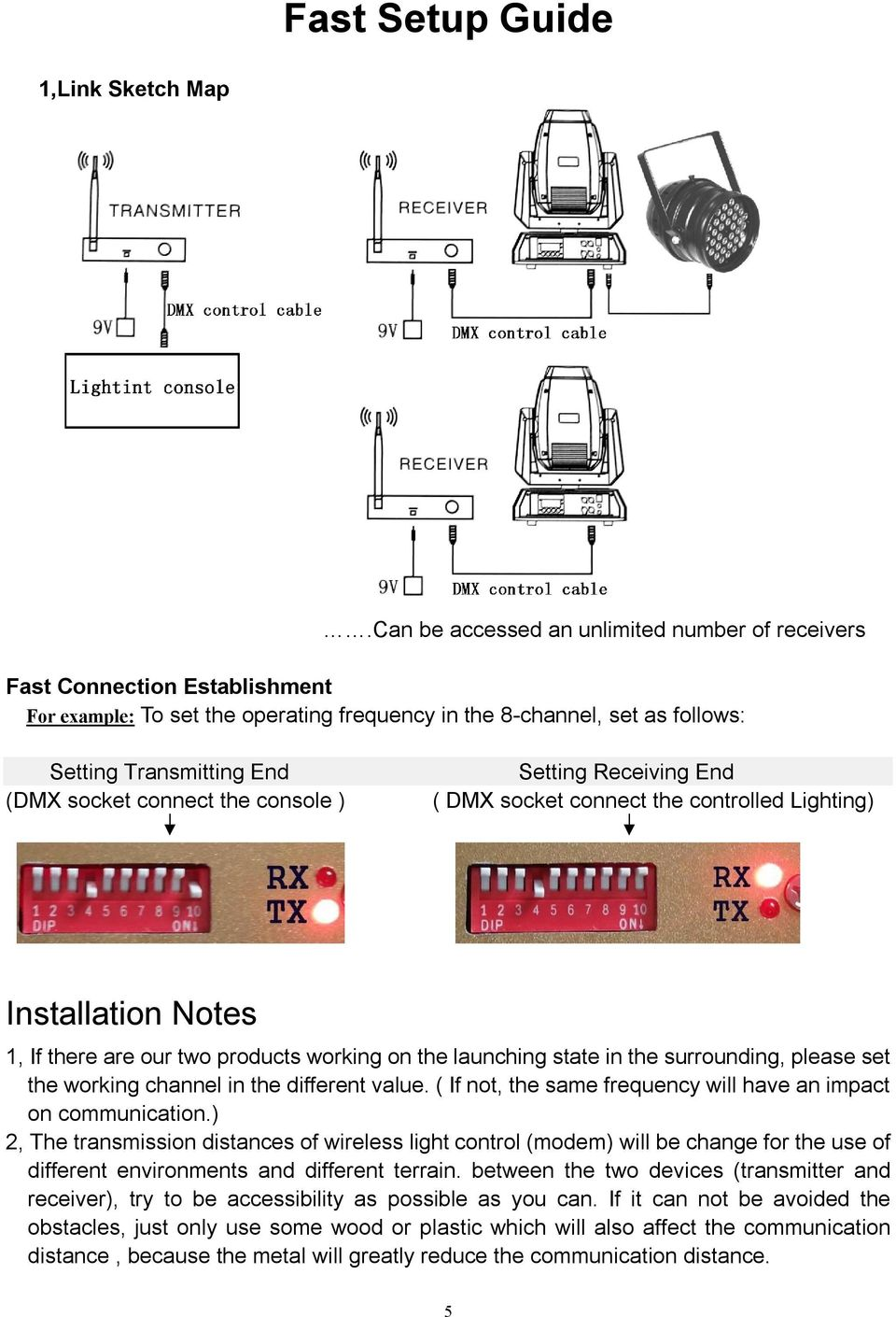 connect the console ) Setting Receiving End ( DMX socket connect the controlled Lighting) Installation Notes 1, If there are our two products working on the launching state in the surrounding, please