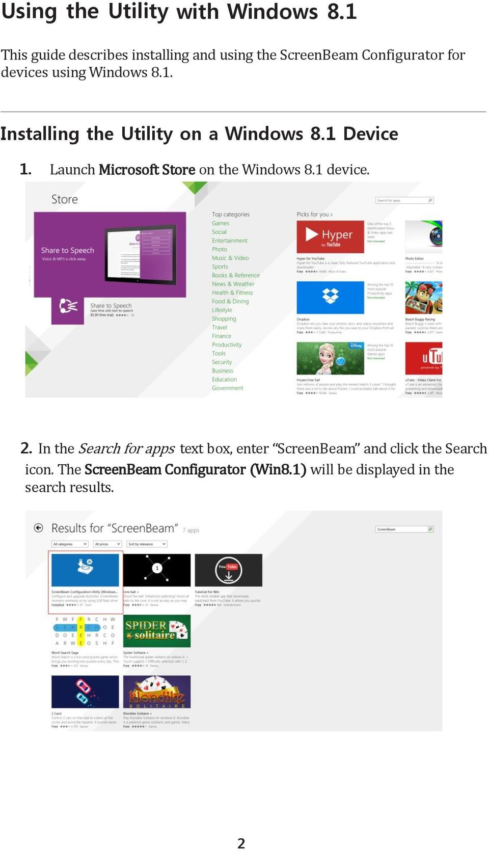 8.1. Installing the Utility on a Windows 8.1 Device 1. Launch Microsoft Store on the Windows 8.