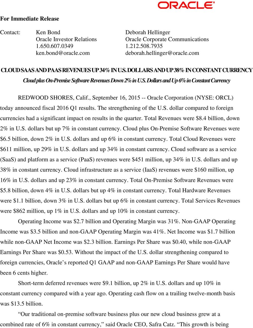 , September 16, 2015 -- Oracle Corporation (NYSE: ORCL) today announced fiscal 2016 Q1 results. The strengthening of the U.S. dollar compared to foreign currencies had a significant impact on results in the quarter.