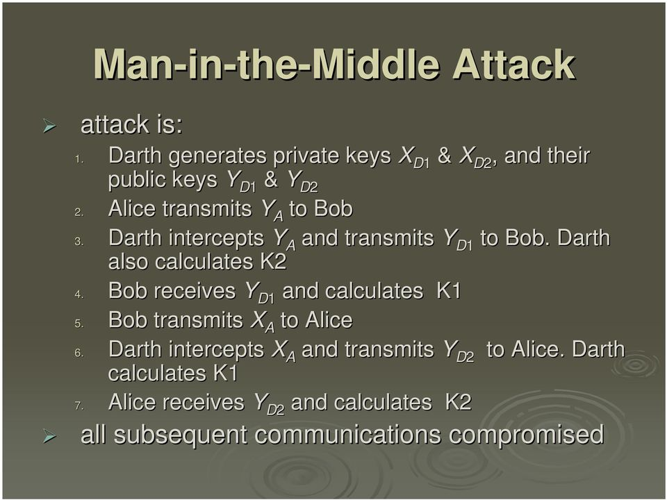 Darth intercepts Y A and transmits Y D1 to Bob. Darth also calculates K2 4.