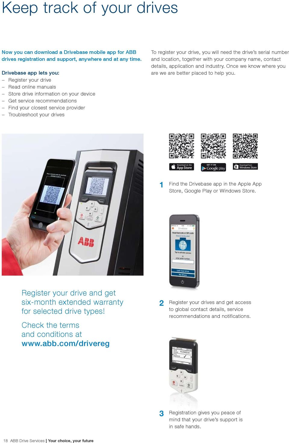 register your drive, you will need the drive s serial number and location, together with your company name, contact details, application and industry.