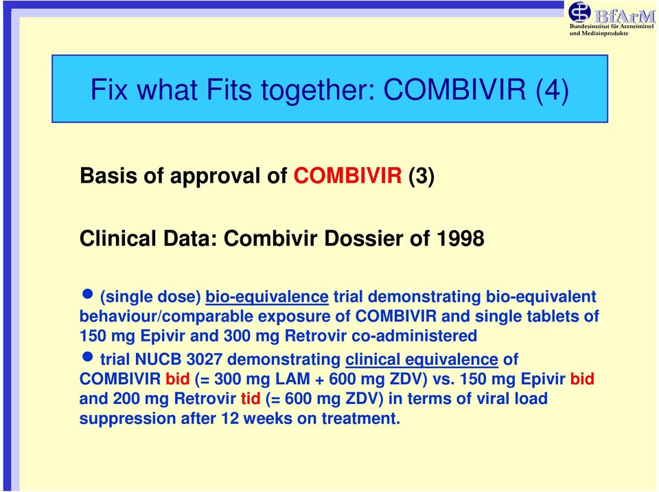 and 300 mg Retrovir co-administered n trial NUCB 3027 demonstrating clinical equivalence of COMBIVIR bid (= 300 mg LAM + 600 mg