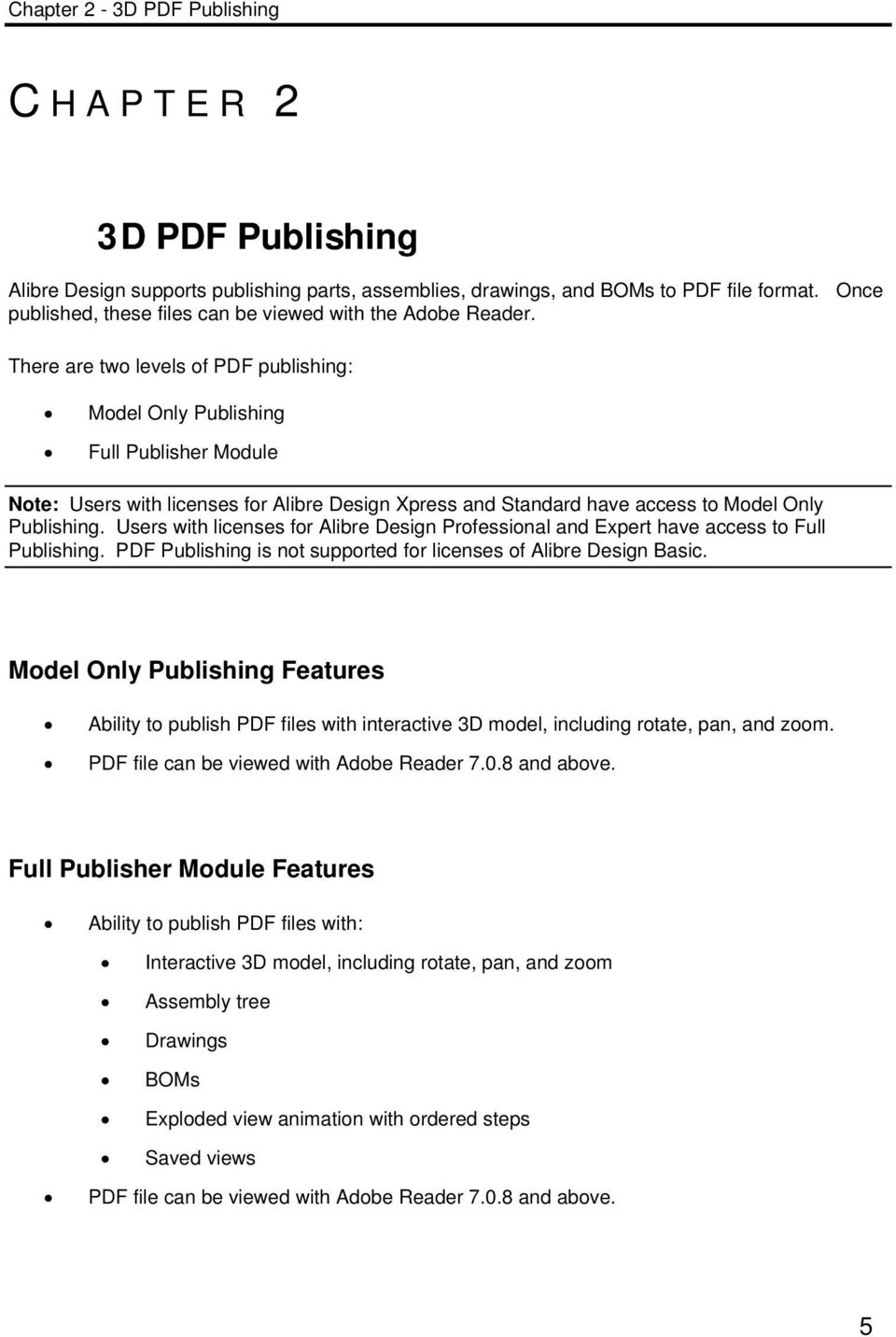 Users with licenses for Alibre Design Professional and Expert have access to Full Publishing. PDF Publishing is not supported for licenses of Alibre Design Basic.