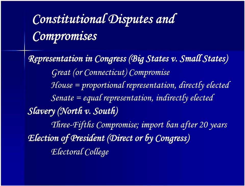 directly elected Senate = equal representation, indirectly elected Slavery y( (North v.