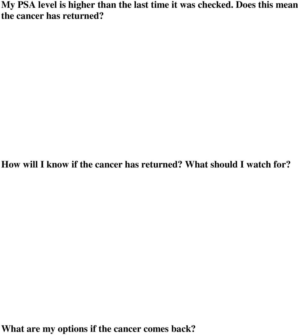 How will I know if the cancer has returned?
