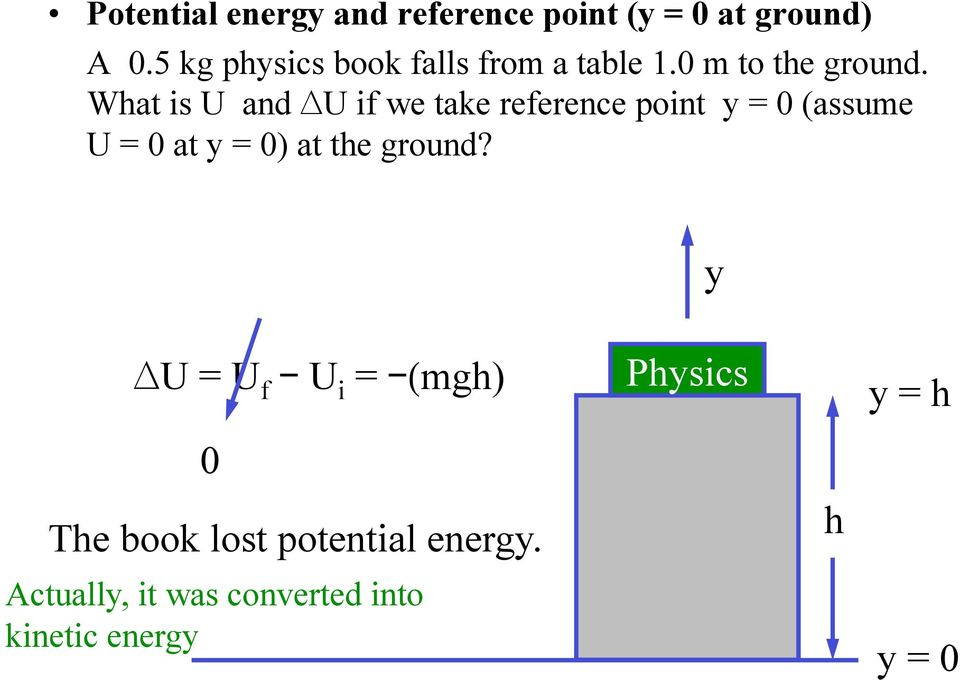 What is U and U if we take reference point y = 0 (assume U = 0 at y = 0) at the